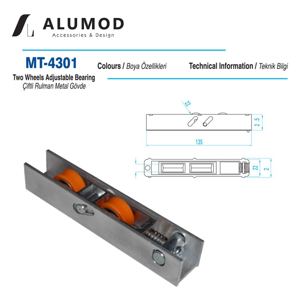 MT-4301 Sürme Teker Çift Rulman Metal Gövde