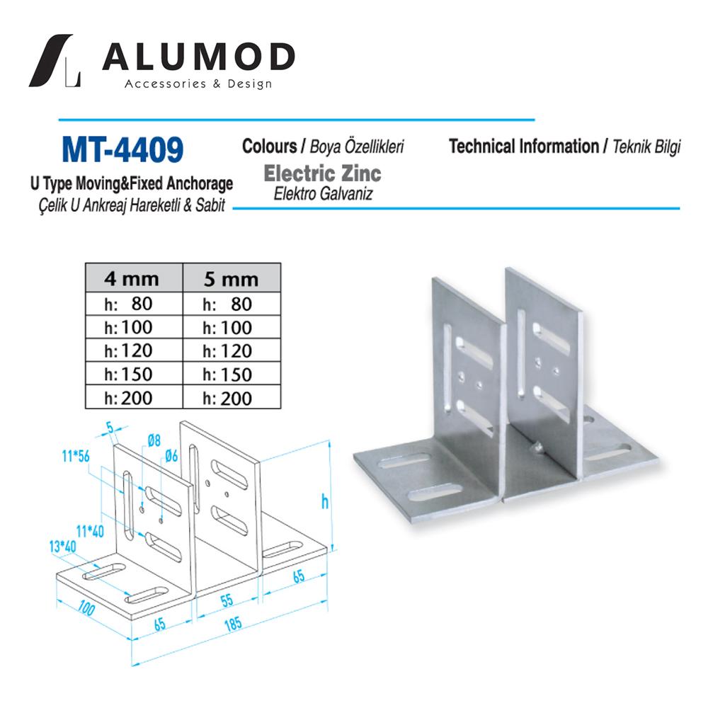MT-4409 Çelik U Ankreaj Hareketli Sabit