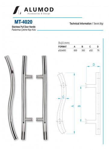 MT-4020 Paslanmaz S Çekme Kapı Kolu
