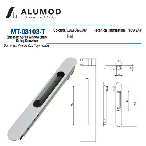 MT-08103-T Sürme Seri Pencere Kolu Yaylı Vidasız
