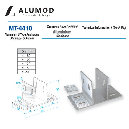 MT-4410 Alüminyum U tipi Ankreaj